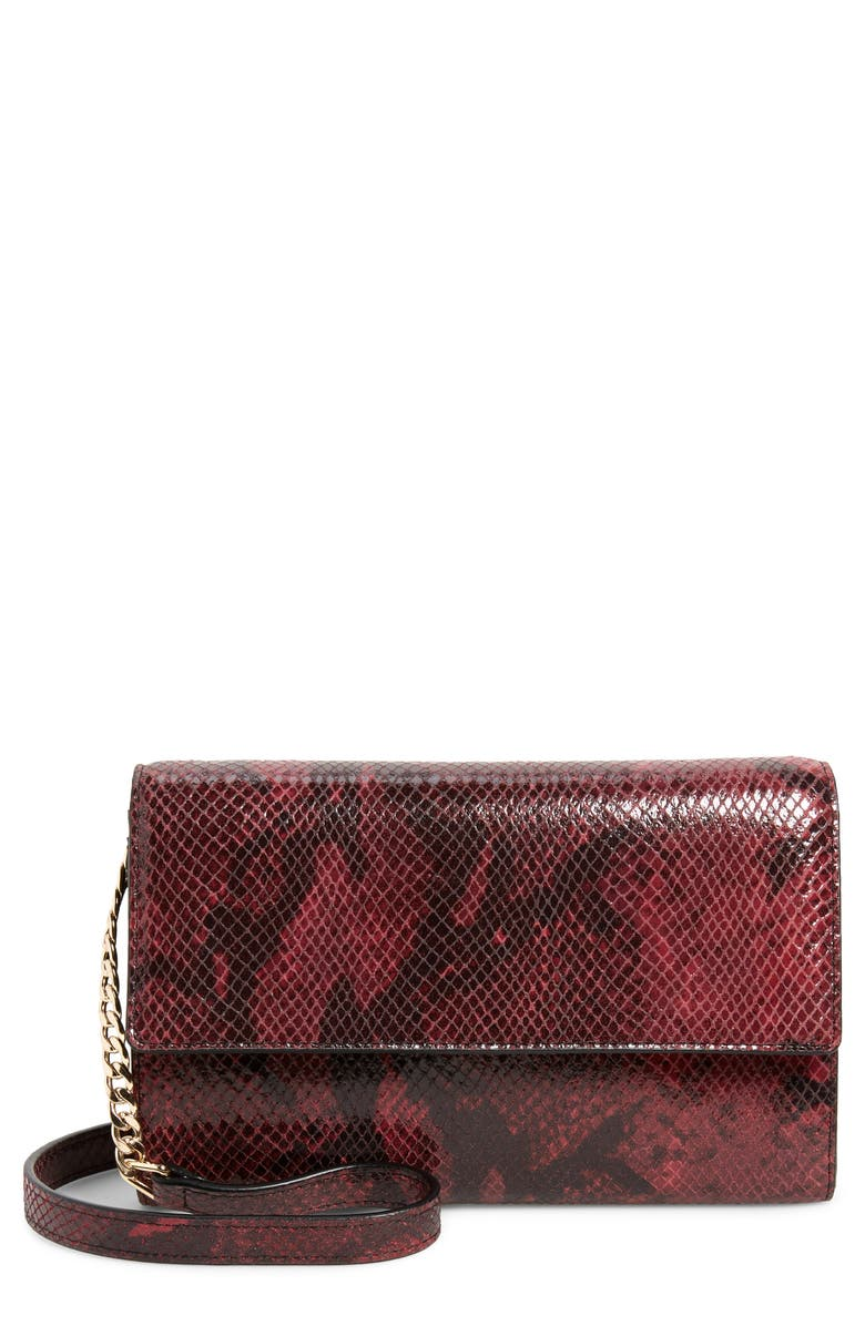NORDSTROM Walla Snakeskin Embossed Leather Wallet on a Chain, Main, color, 938