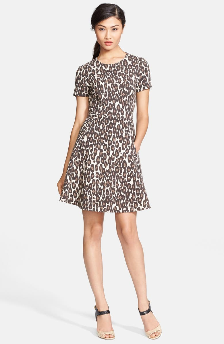 KATE SPADE NEW YORK 'autumn leopard' fit & flare dress, Main, color, 200