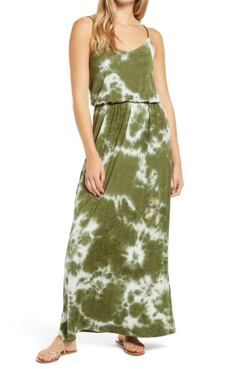 --- All in Favor Knit Maxi Dress, Main, color, OLIVE TIE DYE