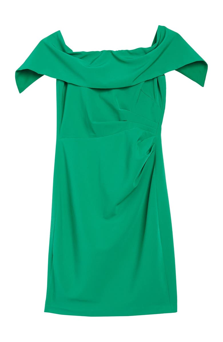 MARINA Off-the-Shoulder Popover Ruched Sheath Dress, Main, color, GREEN