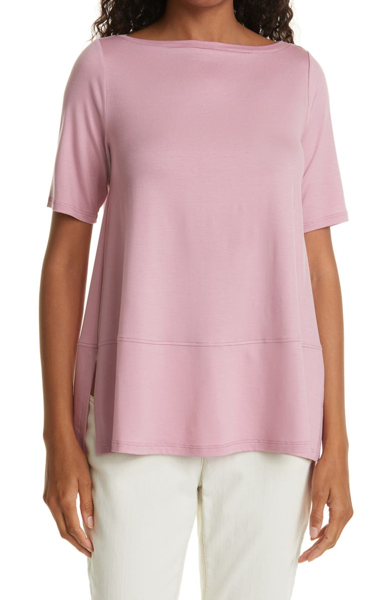 EILEEN FISHER Boatneck Jersey Top, Main, color, MAGNOLIA