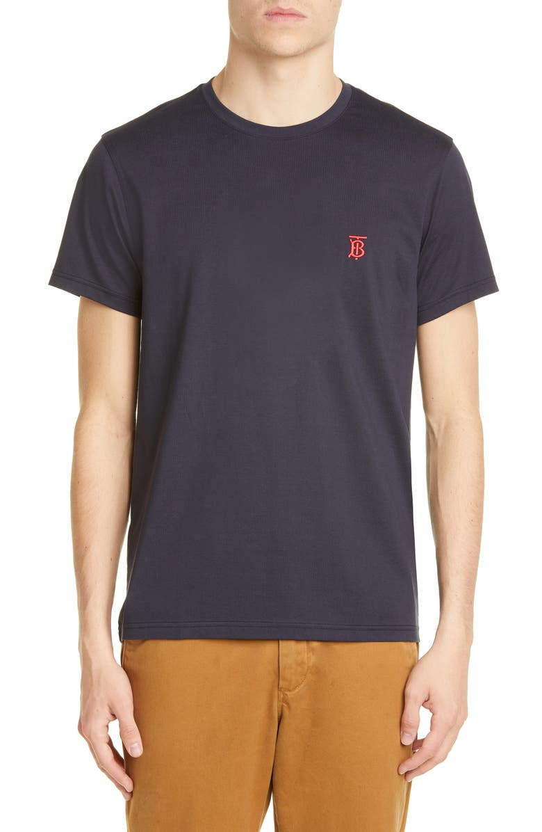 BURBERRY Parker Embroidered Logo T-Shirt, Main, color, NAVY