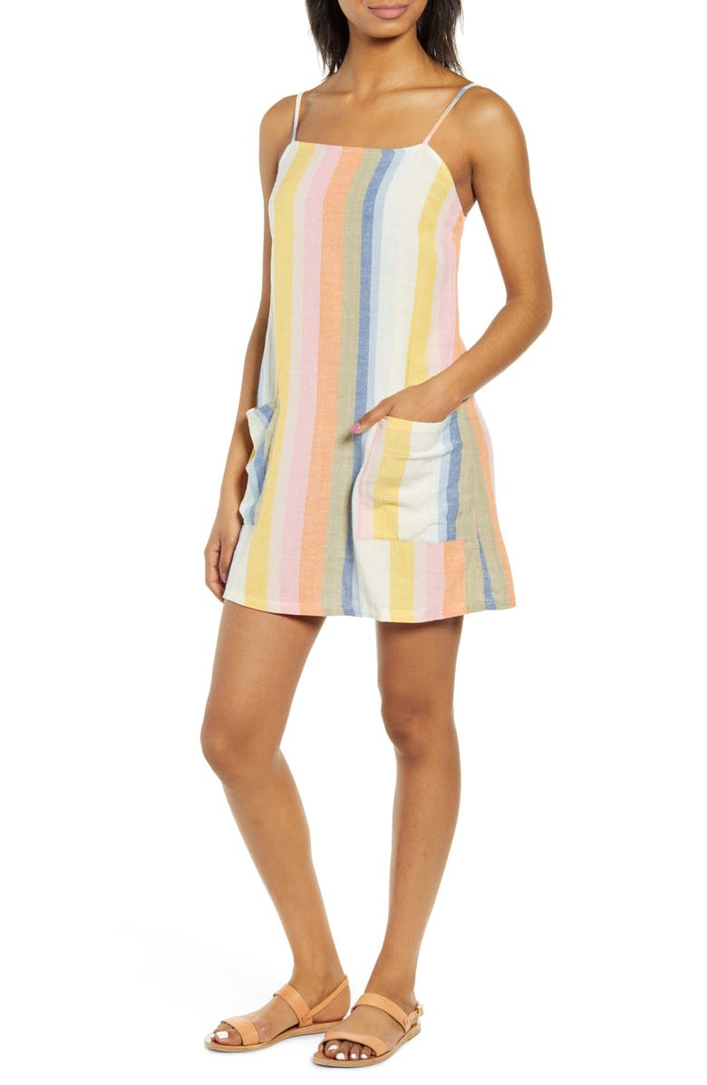 BILLABONG Straight Round Stripe Sundress, Main, color, 400