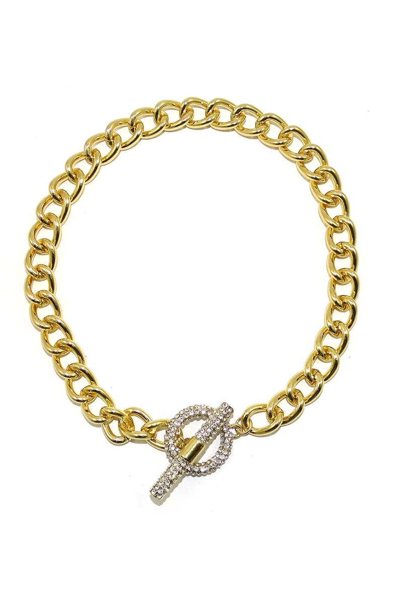 SAVVY CIE JEWELS CZ Cuban Link Necklace, Main, color, YELLOW