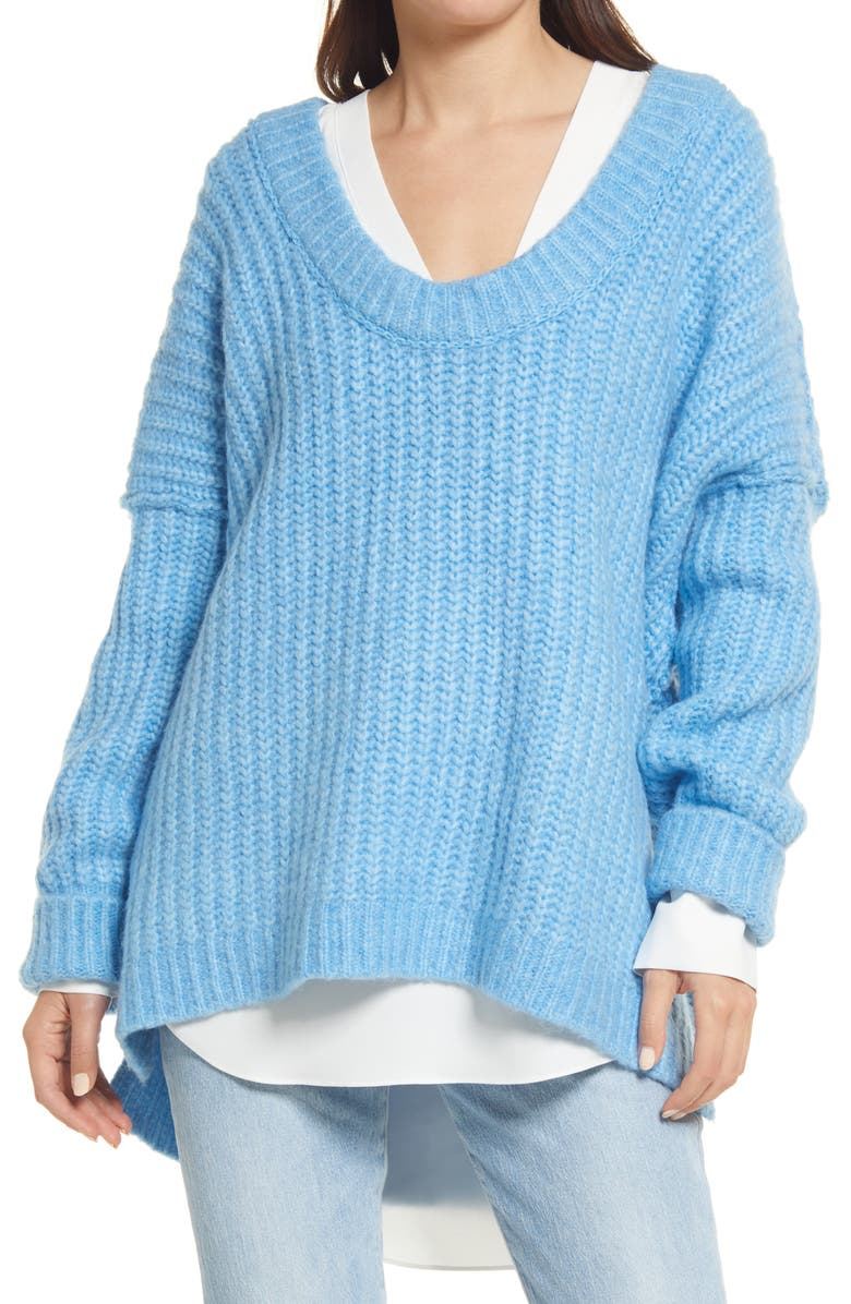 FREE PEOPLE Blue Bell V-Neck Sweater, Main, color, TRUE BLUE