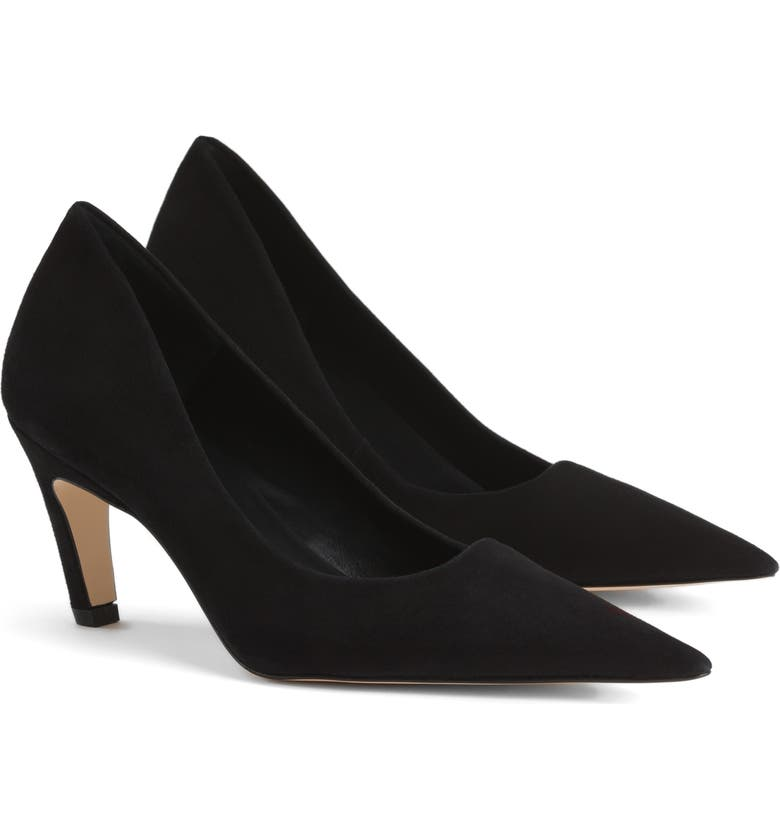 GOOD AMERICAN The Icon Pointed Toe Pump, Main, color, BLACK SUEDE
