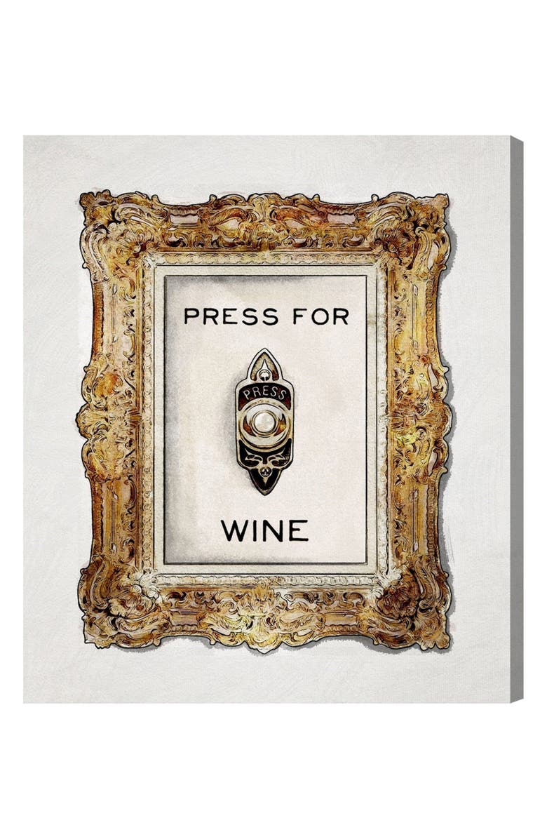 OLIVER GAL Press for Wine Canvas Wall Art, Main, color, WHITE