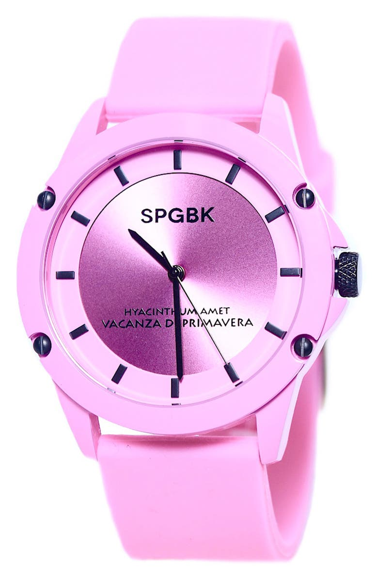 SPGBK WATCHES Hillendale Silicone Strap Watch, 44mm, Main, color, LILAC
