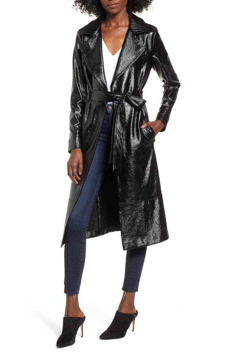LEITH Faux Patent Leather Trench Coat, Main, color, 001