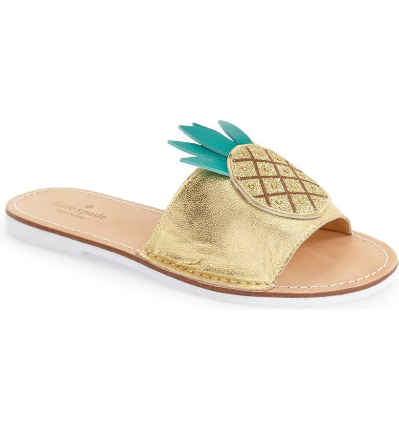KATE SPADE NEW YORK 'ibis' slide sandal, Main, color, GOLD TUMBLED LEATHER