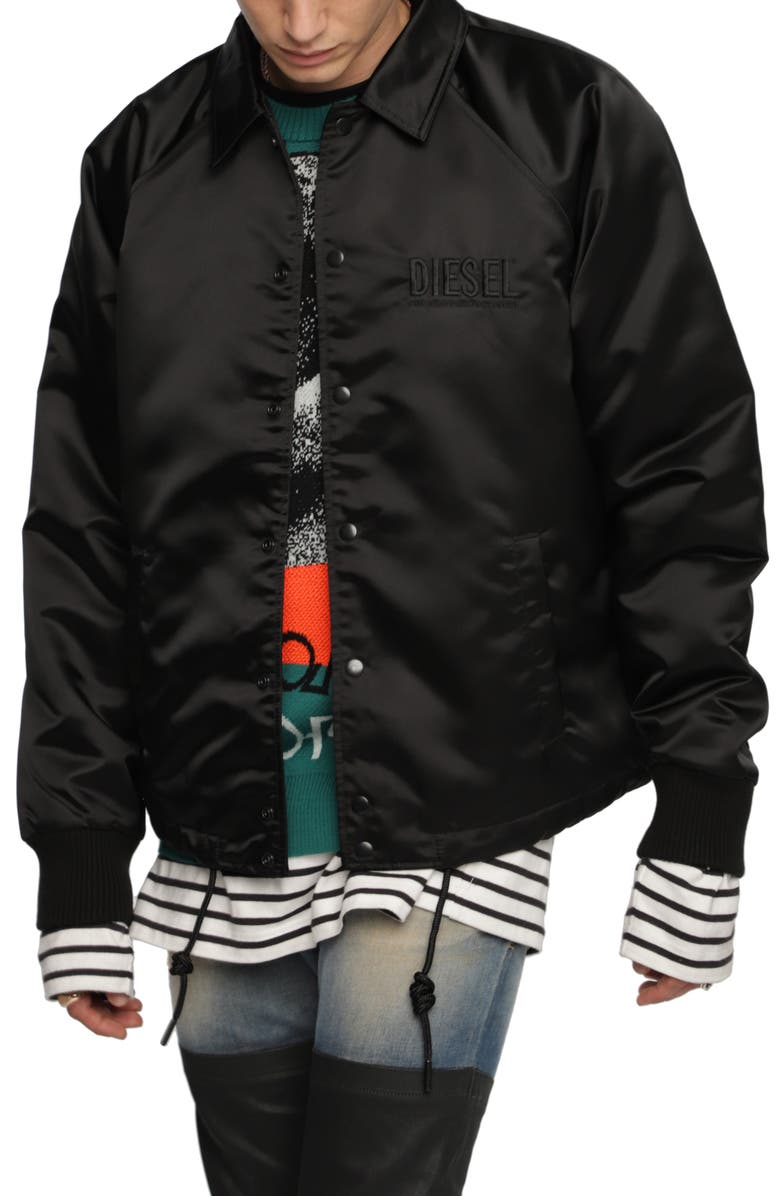 DIESEL<SUP>®</SUP> J-AKIO Logo Embroidered Jacket, Main, color, 001