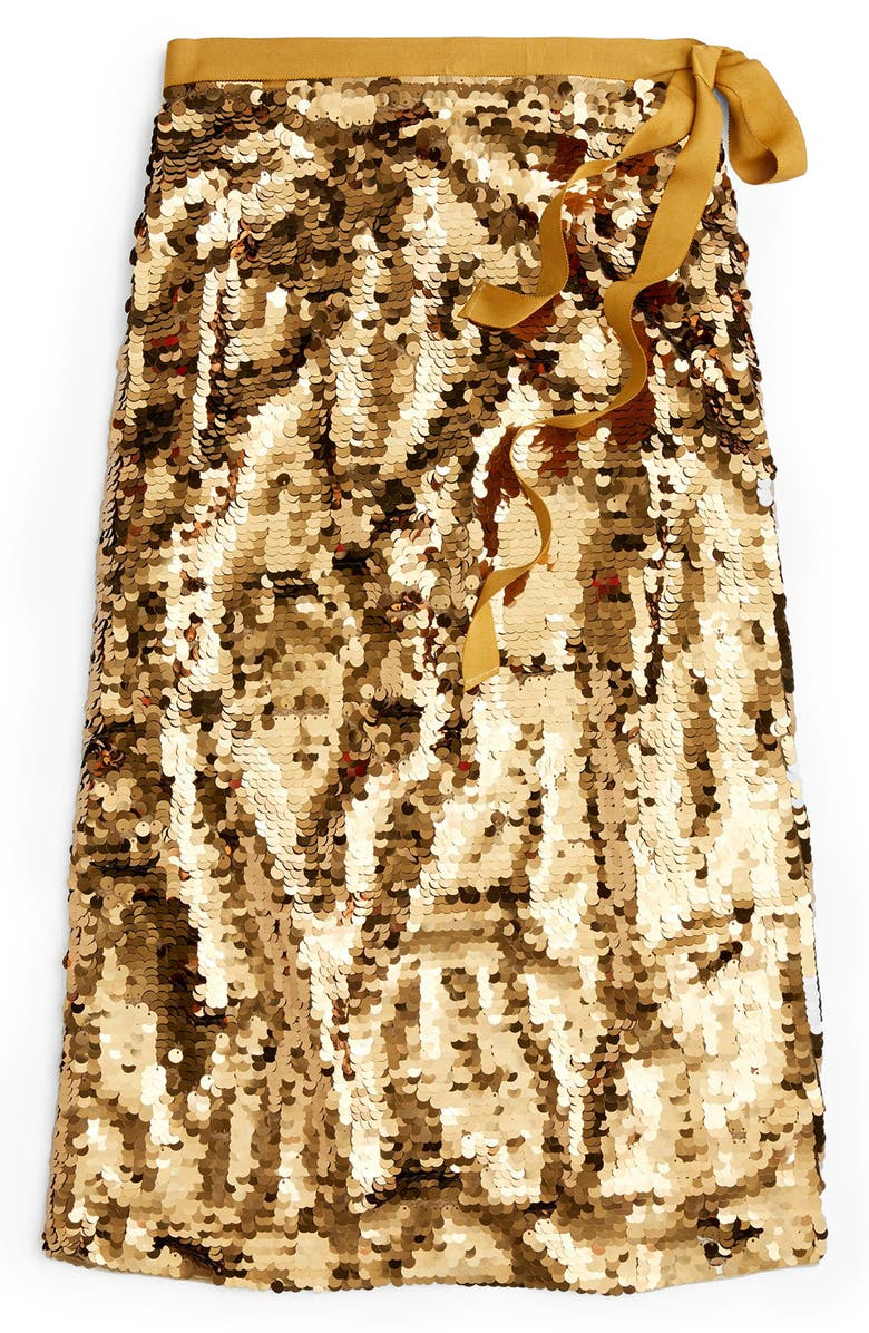 J.CREW Sequin Midi Skirt with Tie, Main, color, MELTED CARAMEL