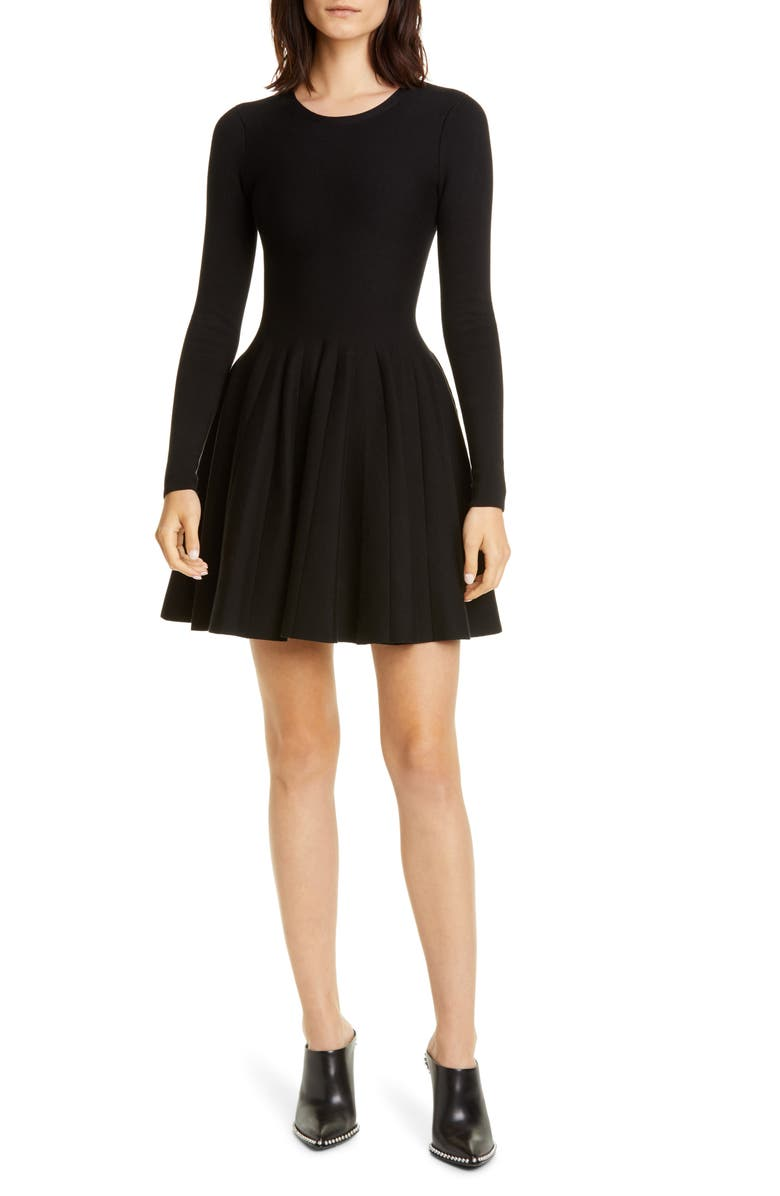 ALEXANDER WANG Long Sleeve Fit & Flare Dress, Main, color, 001