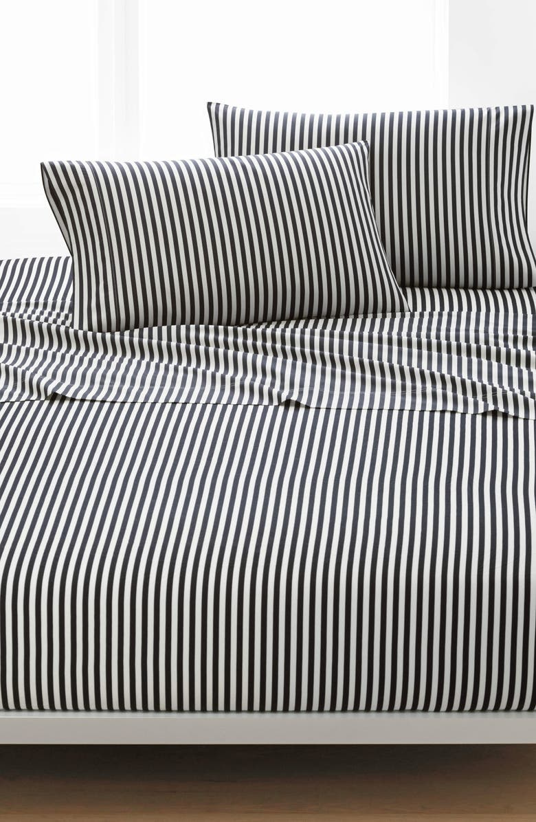 MARIMEKKO Ajo 200 Thread Count Cotton Sheet Set, Main, color, Black