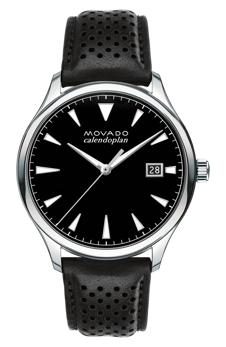 MOVADO 'Heritage' Leather Strap Watch, 40mm, Main, color, BLACK/ BLACK