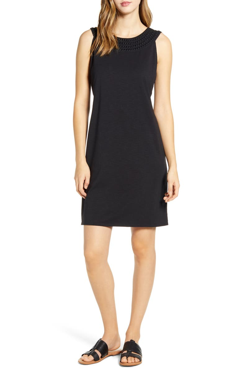 TOMMY BAHAMA Embroidered Neck Dress, Main, color, BLACK