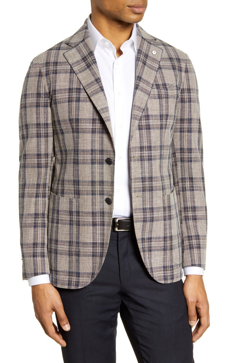 L.B.M. 1911 Trim Fit Plaid Cotton Sport Coat, Main, color, 230