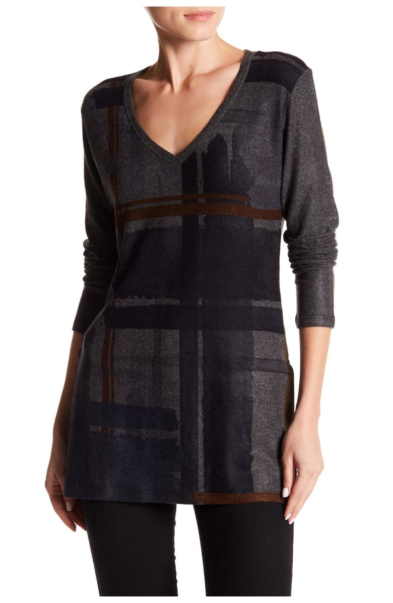 GO COUTURE Printed V-Neck Sweater, Main, color, CHARCOAL DRK BLOCKS