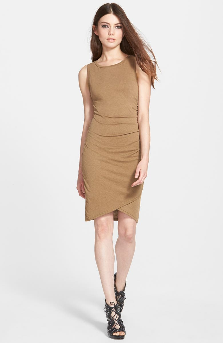 LEITH Ruched Body-Con Tank Dress, Main, color, TAN KANGAROO