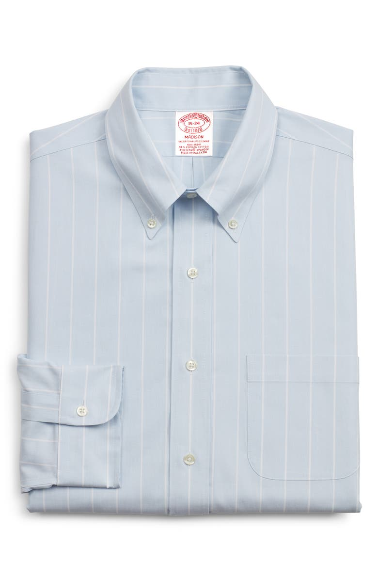 BROOKS BROTHERS Madison Classic Fit Stripe Dress Shirt, Main, color, 455