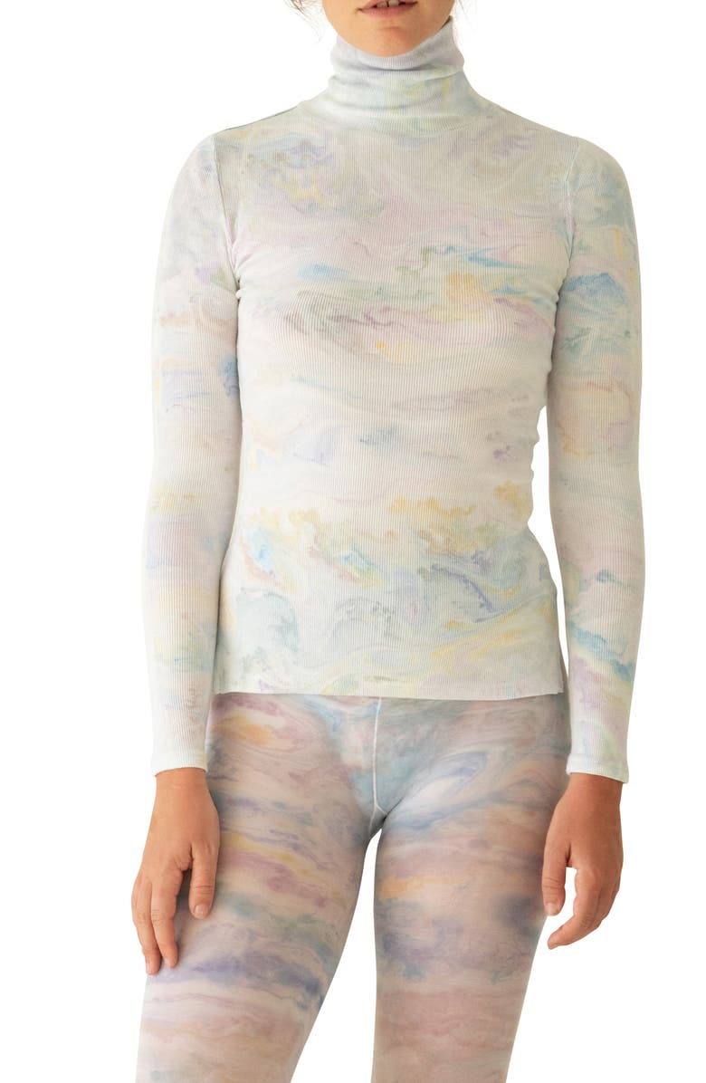 KKCO Marbled Dye Jersey Turtleneck Sweater, Main, color, 100