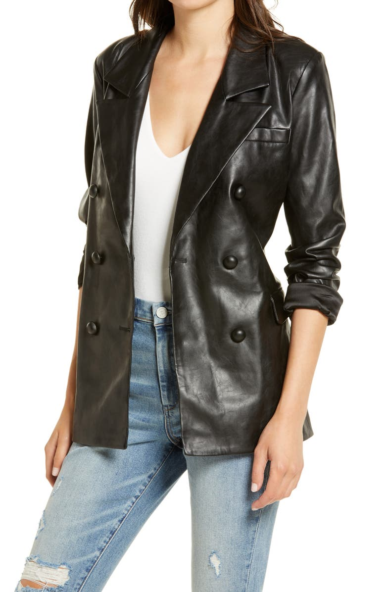 BLANKNYC The Nightingale Faux Leather Blazer, Main, color, 001