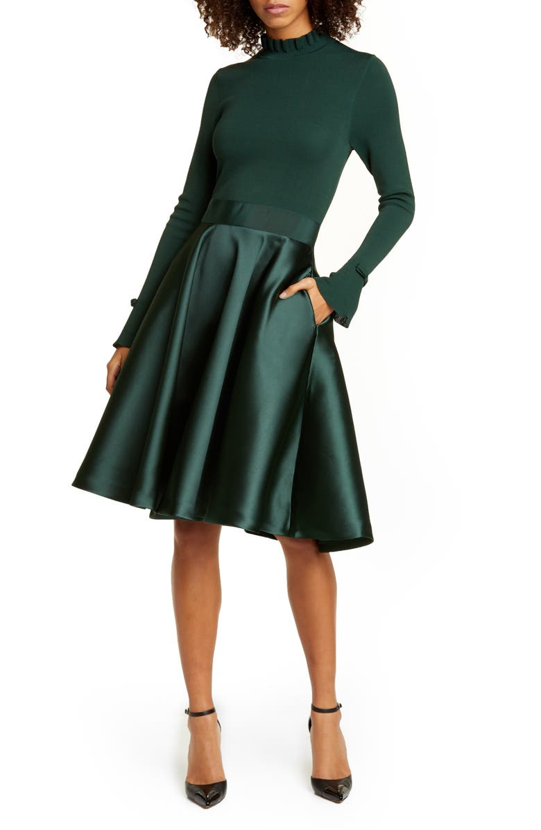 TED BAKER LONDON Zadi Long Sleeve Fit & Flare Dress, Main, color, 400