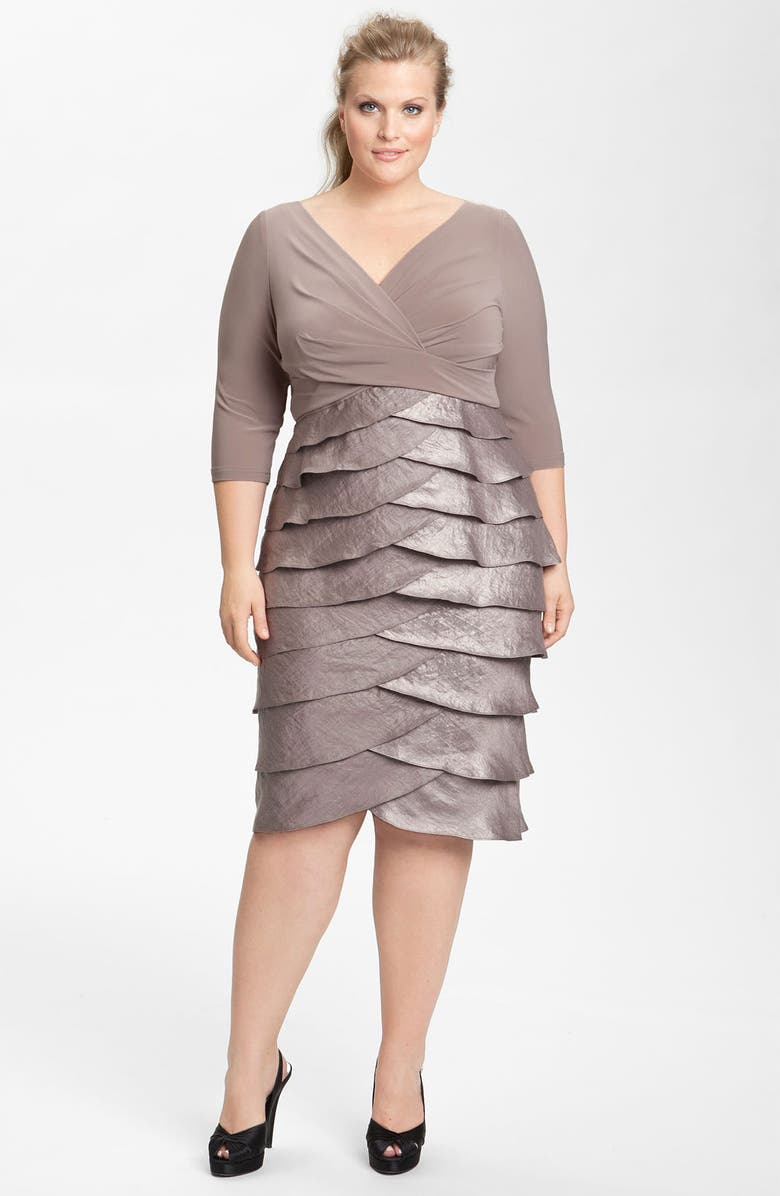 ADRIANNA PAPELL Jersey & Satin Dress, Main, color, 052