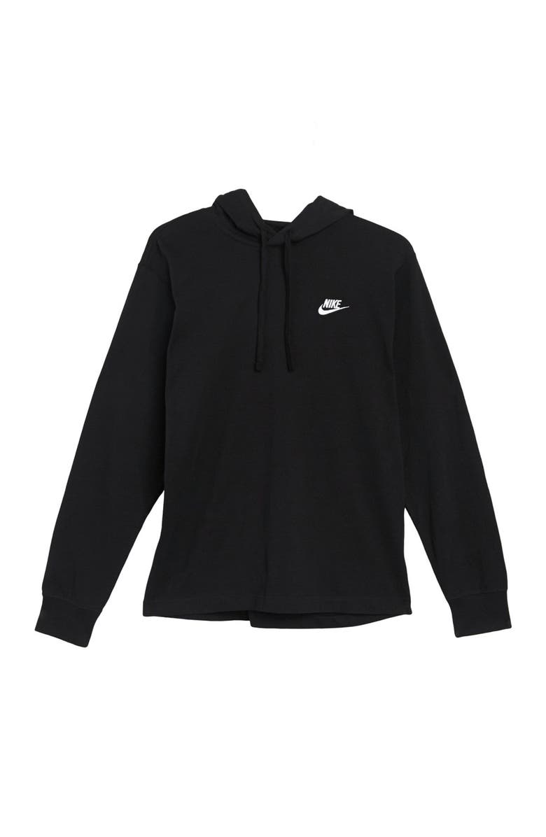 NIKE Logo Jersey Pullover Hoodie, Main, color, BLACK