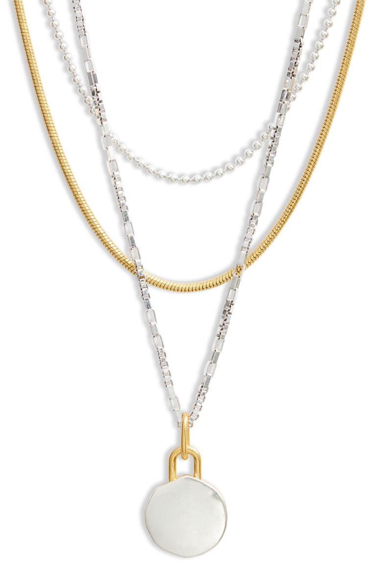 MADEWELL Story Set of 3 Layered Necklaces, Main, color, MIXED METAL