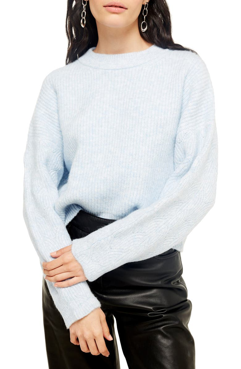 TOPSHOP Cable Knit Sleeve Sweater, Main, color, 450