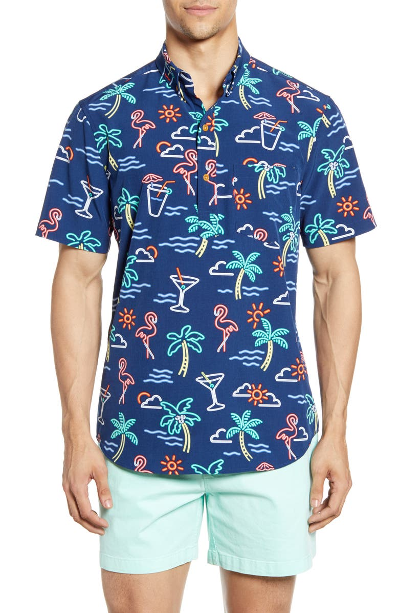 CHUBBIES One Man Wolf Pack Short Sleeve Button-Down Popover Shirt, Main, color, 2019 NAVY
