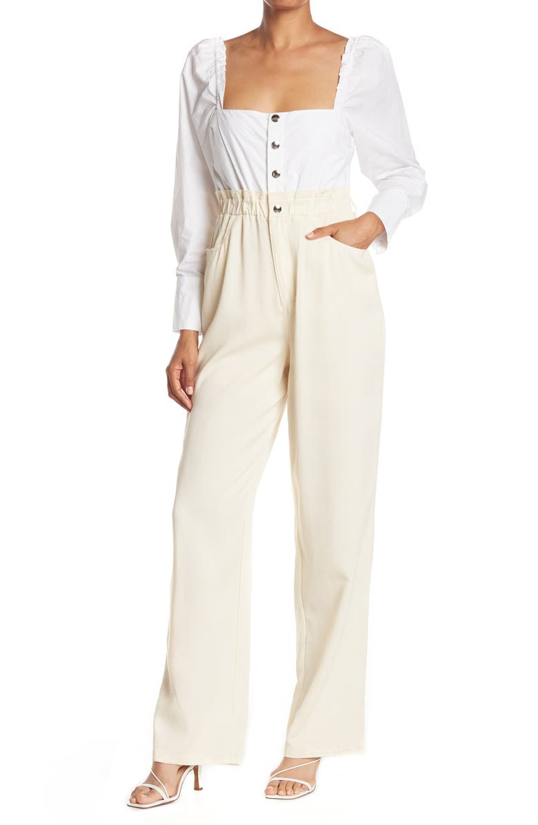 WEWOREWHAT Long Sleeve Shirt Jumpsuit, Main, color, IVORY