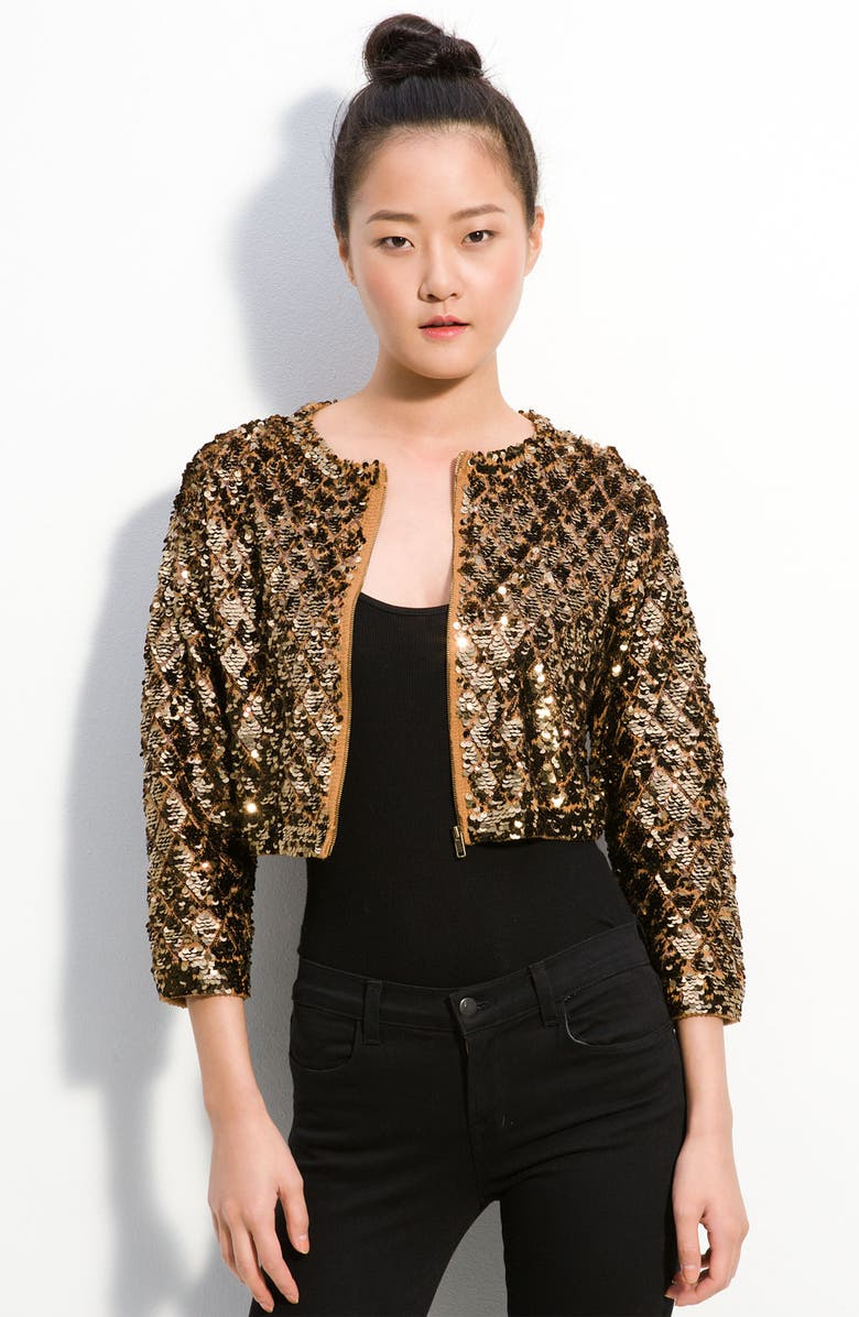 MARC BY MARC JACOBS 'Tela' Cropped Sequin Sweater, Main, color, CAMEL MULTI