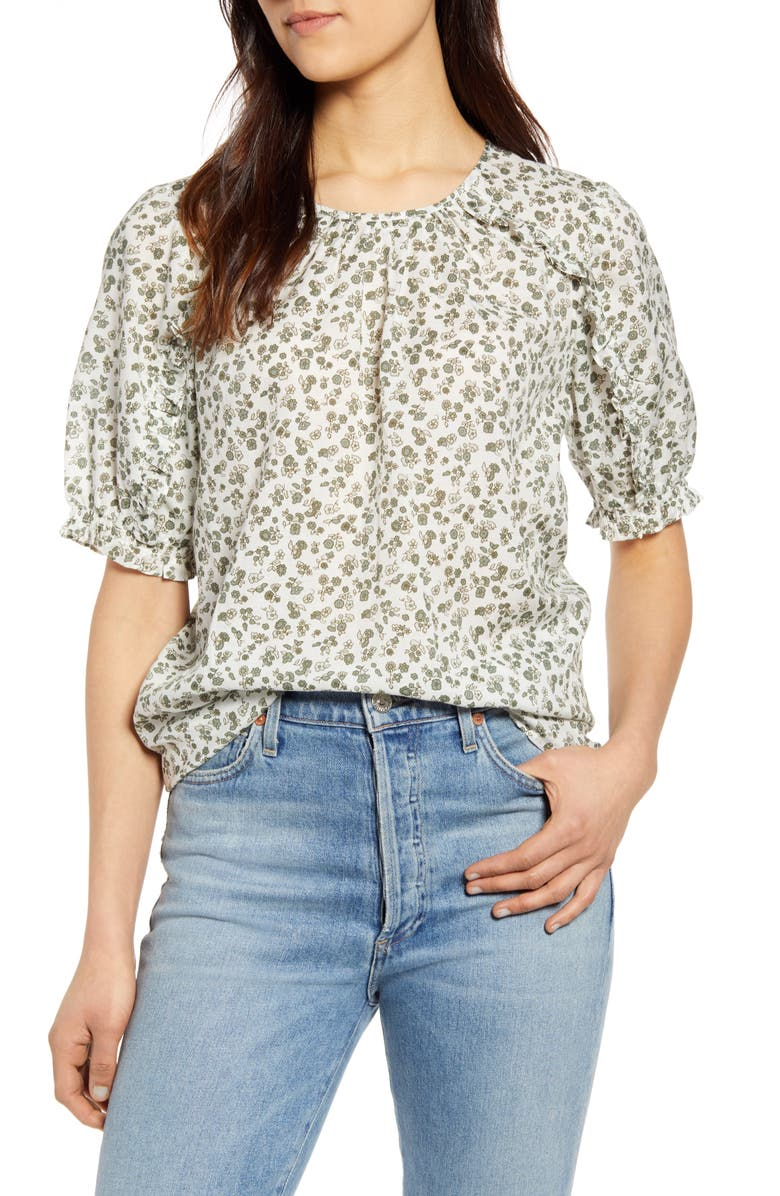 LUCKY BRAND Floral Ruffle Top, Main, color, 340