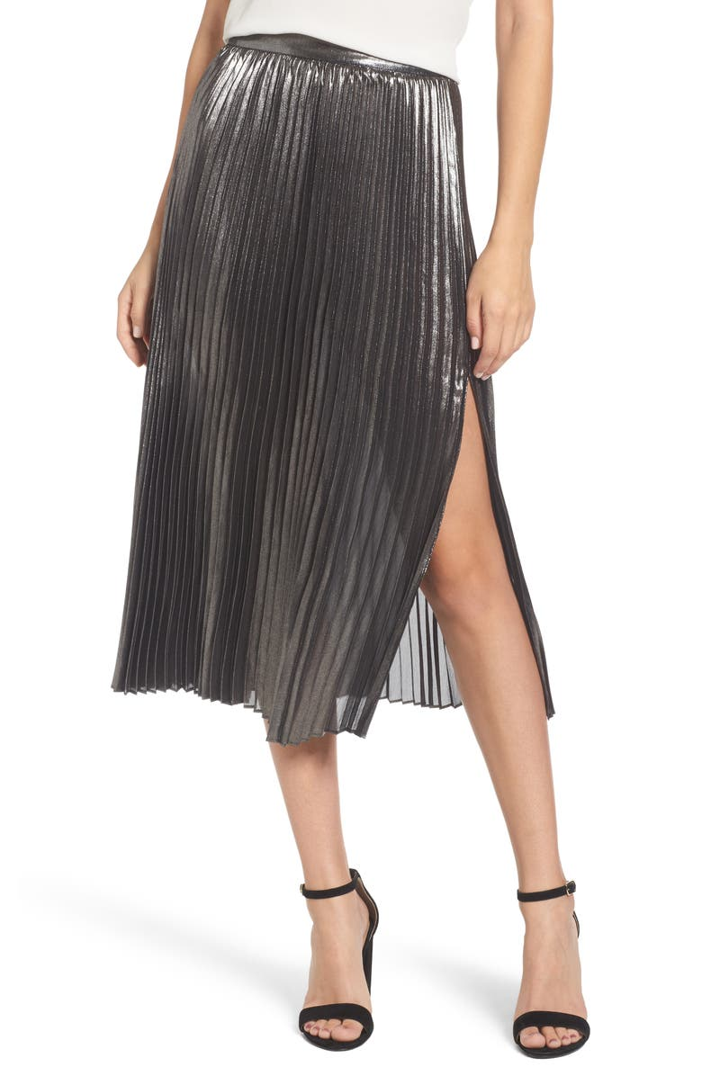 TROUVÉ Metallic Pleated Skirt, Main, color, 040