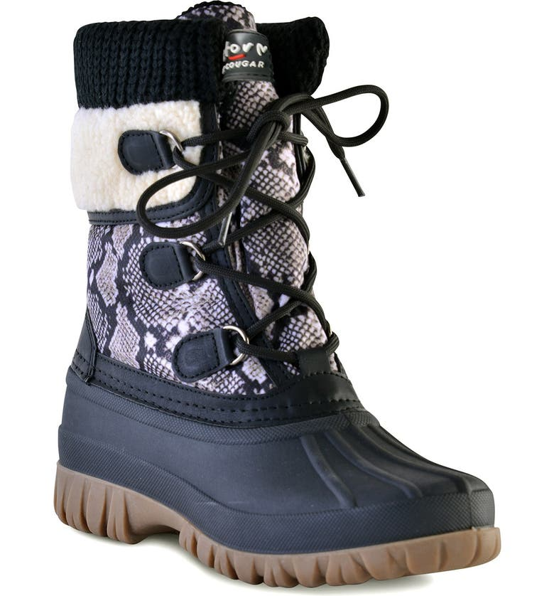 COUGAR Cove Woven Cuff Faux Fur Lined Waterproof Boot, Main, color, SNAKE