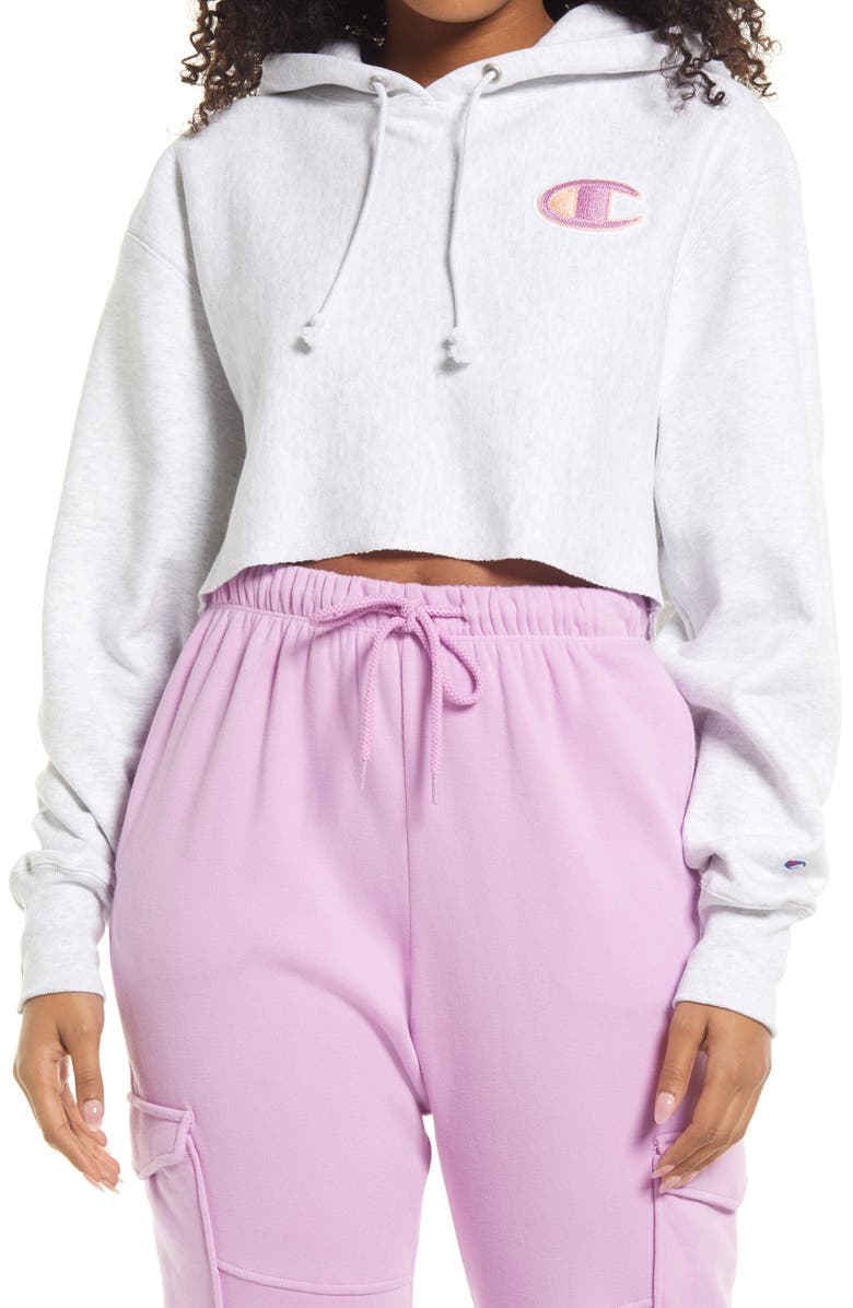 CHAMPION Reverse Weave<sup>®</sup> Crop Hoodie, Main, color, GFS SILVER GREY