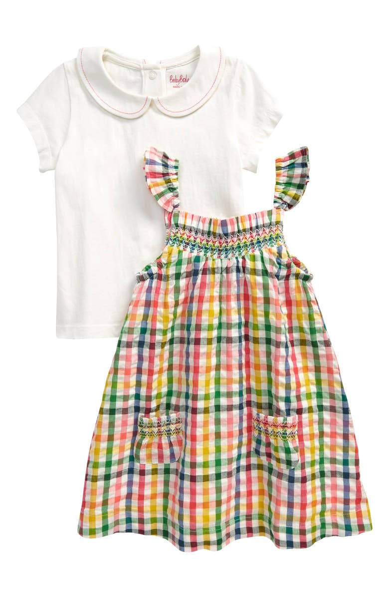 MINI BODEN Pinnie Short Sleeve Shirt & Gingham Pinafore Dress Set, Main, color, PARTY PINK GINGHAM