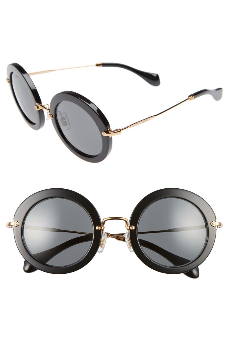 MIU MIU 49mm Round Retro Sunglasses, Main, color, 001