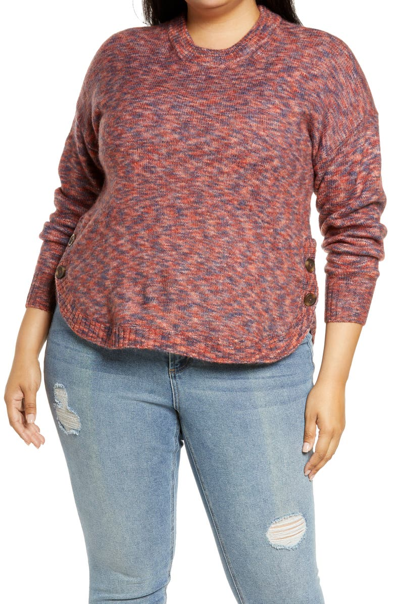 MADEWELL Space Dye Birchmont Side Button Pullover Sweater, Main, color, SPACEDYE SANGRIA