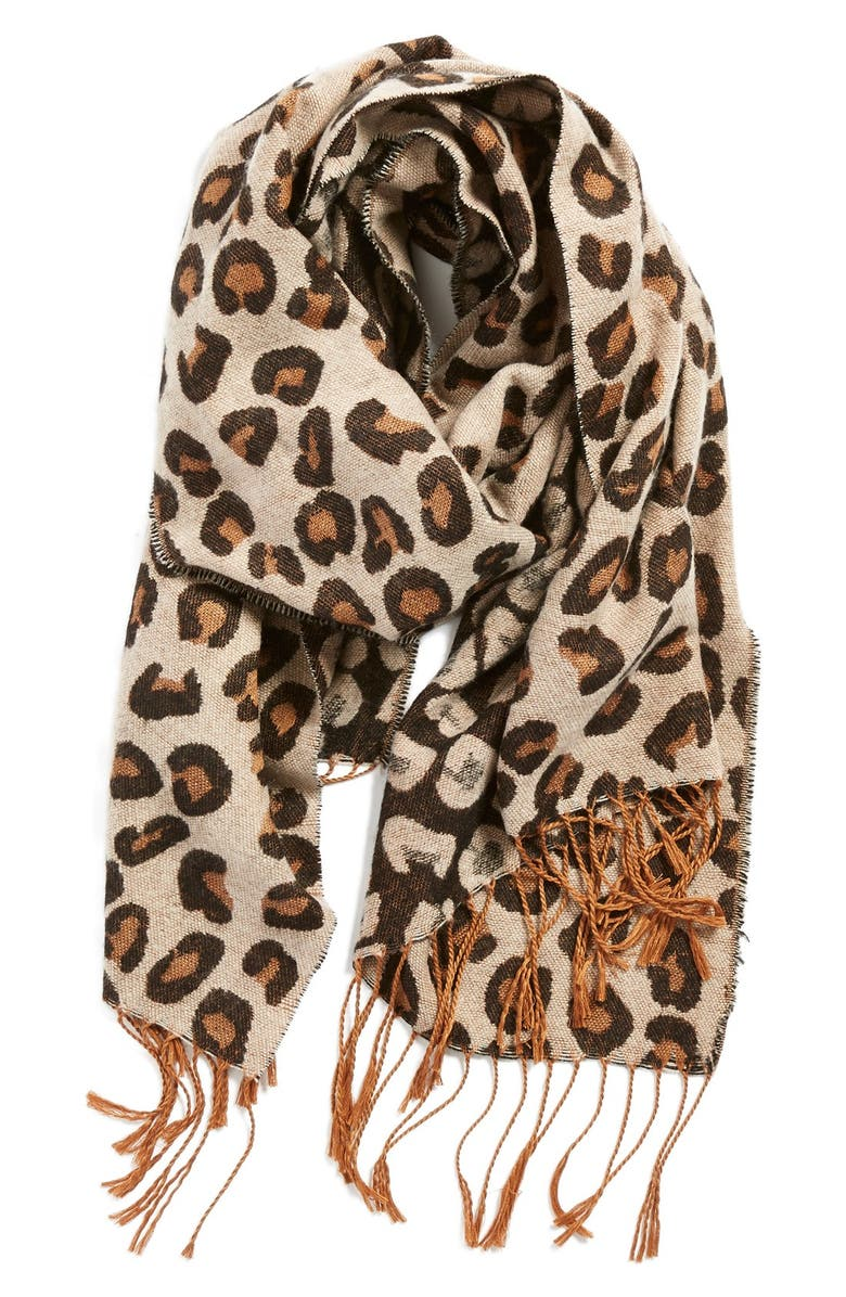 BP. BP Leopard Print Fringe Oblong Scarf, Main, color, 200