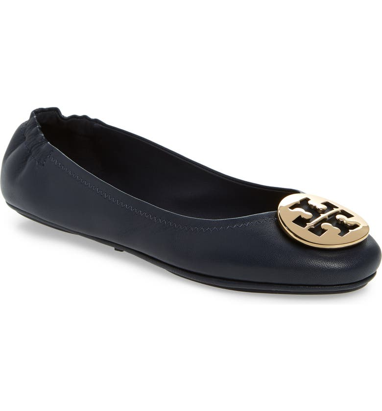 TORY BURCH Minnie Travel Ballet Flat, Main, color, INK NAVY/ GOLD