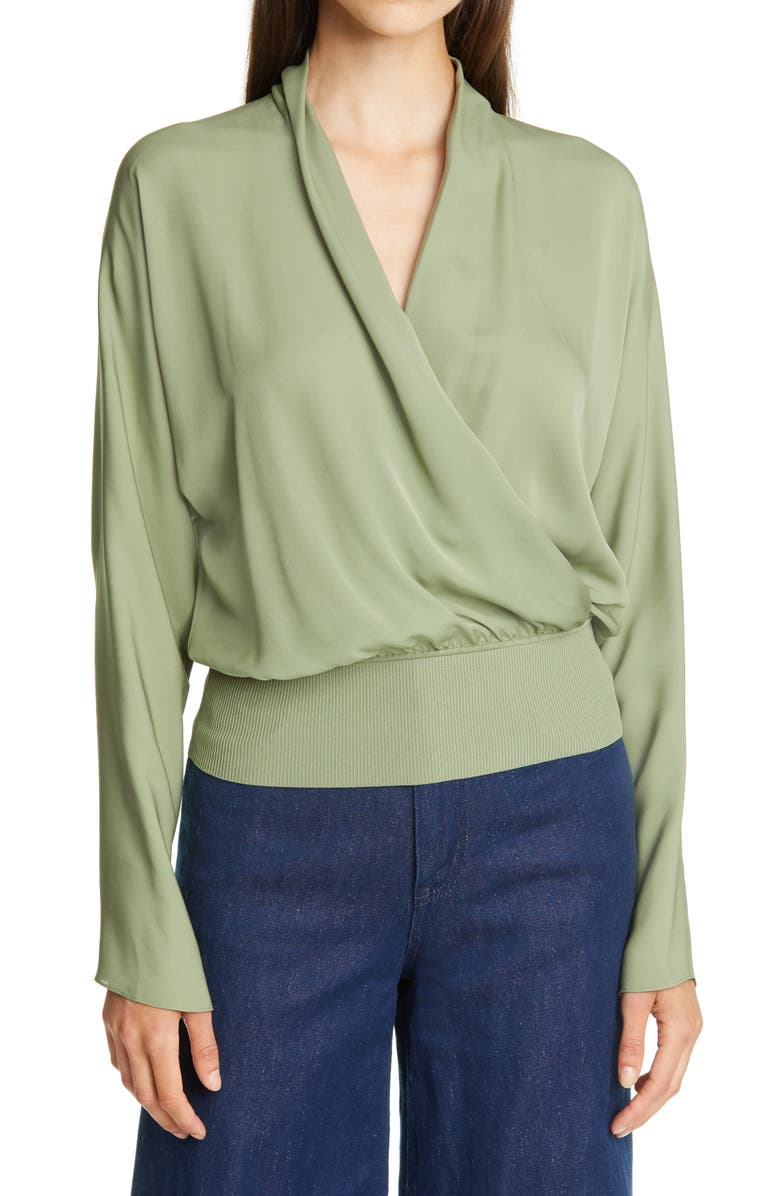 THEORY Mix Media Faux Wrap Silk Blouse, Main, color, 301