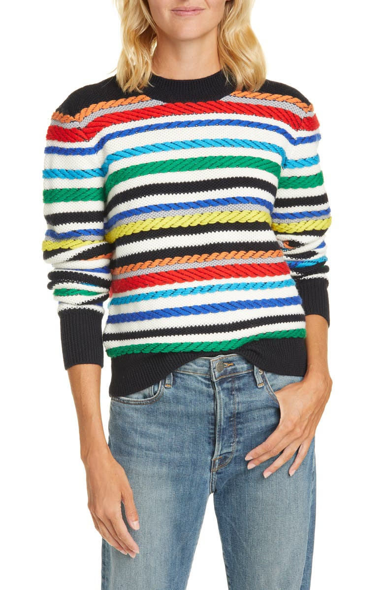 LA LIGNE Fair Isle Mix Stitch Merino Wool Sweater, Main, color, 907
