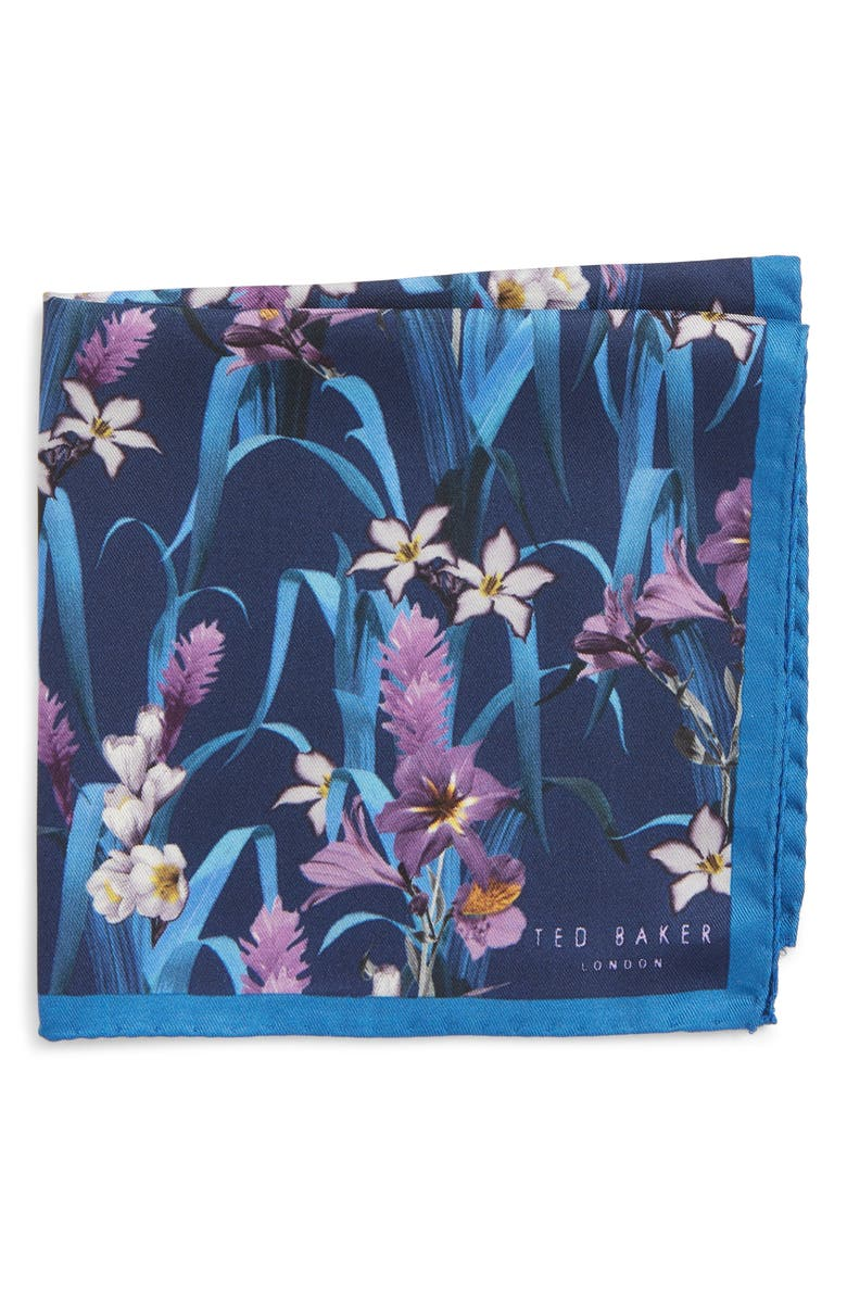 TED BAKER LONDON Lily Floral Silk Pocket Square, Main, color, NAVY