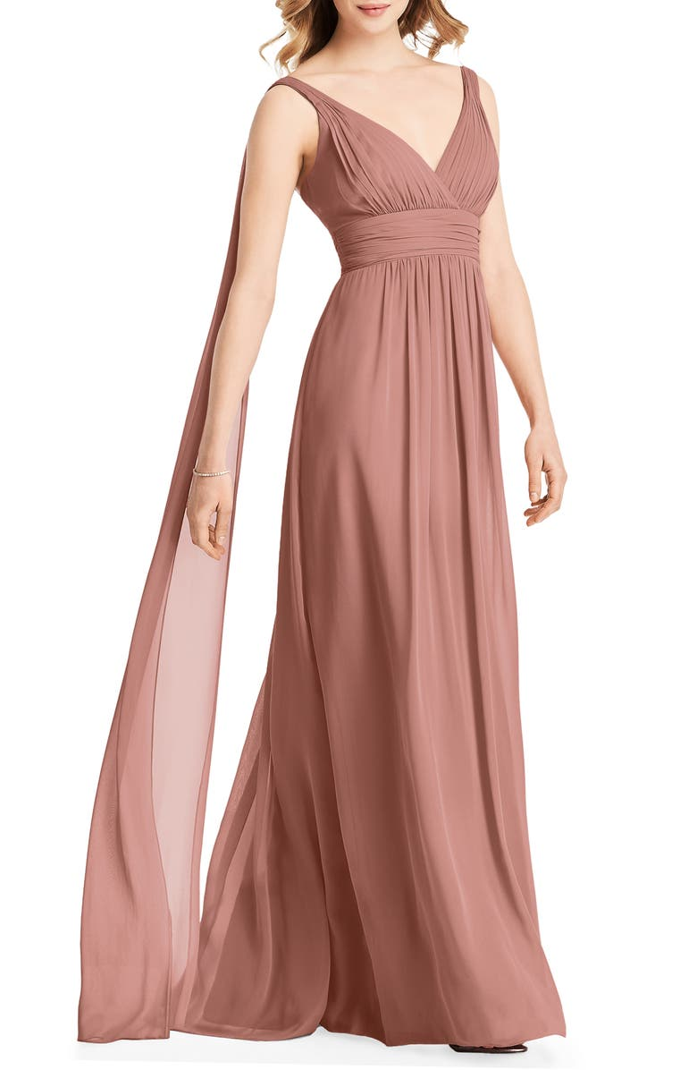 JENNY PACKHAM Streamer Back Chiffon Gown, Main, color, DESERT ROSE