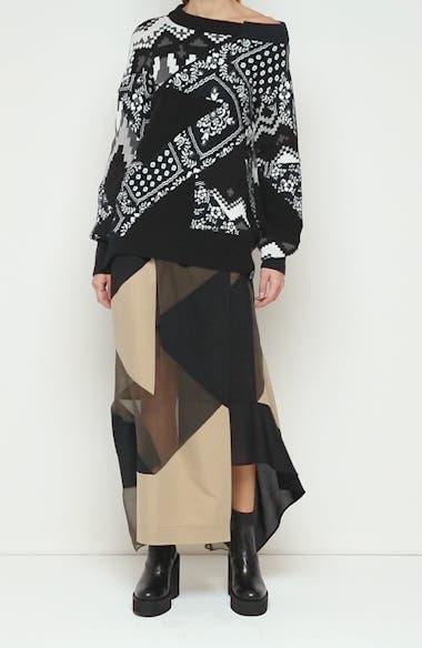 Hank Willis Thomas Archive Patchwork Off the Shoulder Sweater, video thumbnail