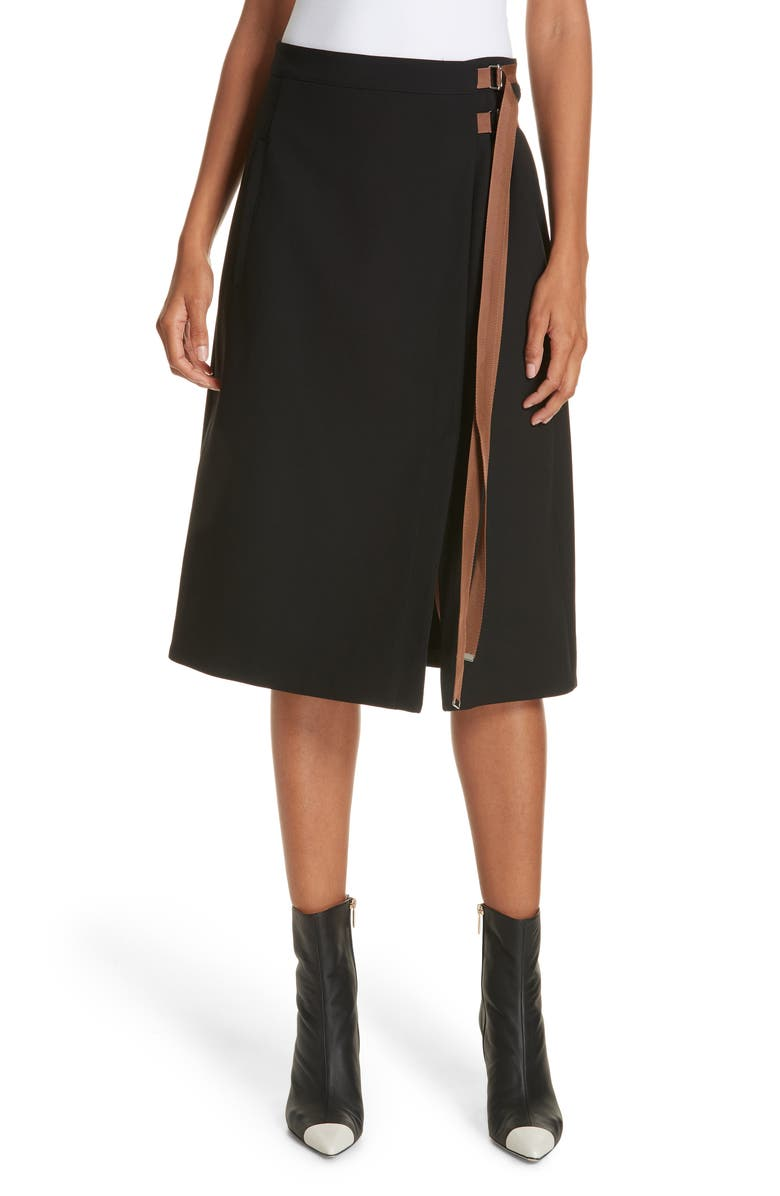 TIBI Anson Stretch A-Line Skirt, Main, color, 001