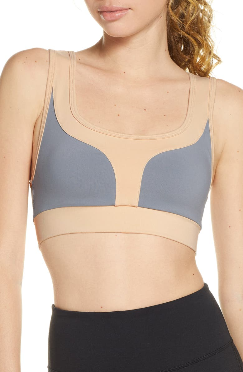 LIVE THE PROCESS Geometric Sports Bra, Main, color, 500